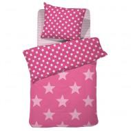 Damai Wendebettwäsche Starville pink mit Sternen in 135x200cm