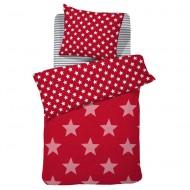 Damai Wendebettwäsche Starville rot mit Sternen in 135x200cm