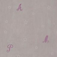 Casadeco Douce Nuit Tapete Buchstaben in weiß-grau-lila