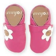 Eveyos Krabbelschuhe Pink mit Blume - mit Name möglich