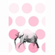 "Esta Home ""Everybody Bonjour"" Tapetenwandbild Elefant 186x279 cm rosa-grau-weiß"