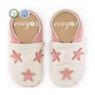 Eveyos Krabbelschuhe Weiß mit rosa Sternen - mit Name möglich