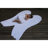 Teppich waschbar weiß in Form eines Flügels 120x160cm