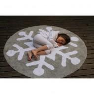 Teppich waschbar Schneeflocke in dunkelgrau-weiß, Durchmesser: 140cm