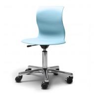Flötotto Schreibtisch-Drehstuhl Alu poliert mit Sitzschale in aquablau und weichen Rollen