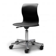 Flötotto Schreibtisch-Drehstuhl Alu poliert mit Sitzschale in granitgrau und weichen Rollen