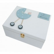 Freya Design  handbemalte Holzbox für Erinnerungen in hellblau - groß