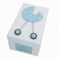Freya Design  handbemalte Holzbox für Erinnerungen in hellblau - klein