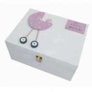 Freya Design  handbemalte Holzbox für Erinnerungen in rosa - groß