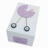 Freya Design  handbemalte Holzbox für Erinnerungen in rosa - klein