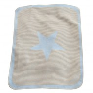 David Fussenegger Babydecke in hellblau-beige mit Stern 70x90cm