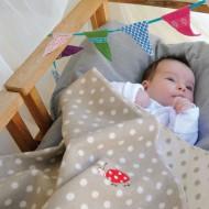 David Fussenegger Babydecke in beige mit Punkten 70x90cm