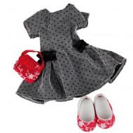 Schickes Kleid in Schwarz für Puppen 45-50cm