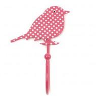 Wandhaken Vögelchen Punkte pink