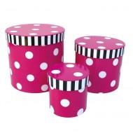 Jabadabado Aufbewahrungsboxen-Set pink mit weißen Punkten