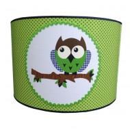 Juul Design Lampenschirm grün-blau mit Eule Ø 35cm