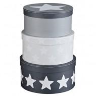 Kids Concept Set Pappboxen rund grau mit Sternen