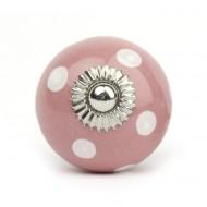 Knauf Punkte rosa-weiß