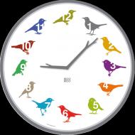 Kookoo Wanduhr Ultraflat Vögel color farbig