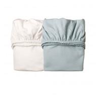 Leander 2er-Set Laken zur Babywiege in misty blue/weiß