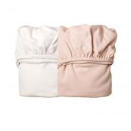 Leander 2er-Set Laken zur Babywiege in soft pink/weiß