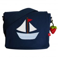la fraise rouge Kindergartentasche Segelboot in dunkelblau mit Name möglich