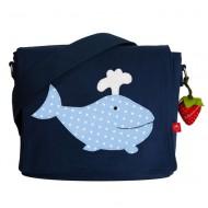 la fraise rouge Kindergartentasche Walfisch in dunkelblau mit Name möglich