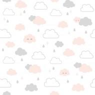 Lilipinso Vliestapete weiß mit rosa-grauen Wolken