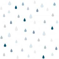 Lilipinso Vliestapete weiß mit blau-grauen Tropfen
