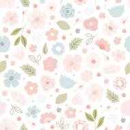 Lilipinso Vliestapete weiß mit Blumen in rosa-blau