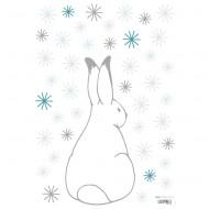Lilipinso Wandsticker A3 in weiß mit Hase und Scheeflocken in grau und blau