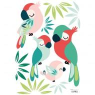 Lilipinso Wandsticker A3 in weiß mit Vögeln in bunten Farben