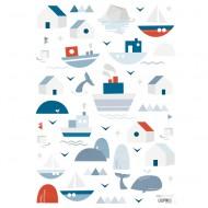 Lilipinso Wandsticker A3 in weiß mit Schiffen in blau/rot