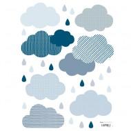 Lilipinso Wandsticker A3 in weiß mit Wolken und Regentropfen in blau