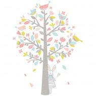 Lilipinso Wandsticker XL 85x115cm in weiß mit Baum in rosa und grün