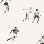 Lilleby Vliestapete Fußballer in schwarz