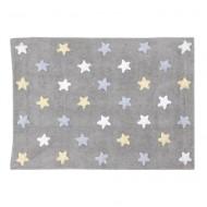 Lorena Canals waschbarer Teppich Stars grau-gelb-blau 120x160cm