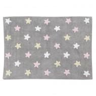 Lorena Canals waschbarer Teppich Stars grau-gelb-rosa 120x160cm