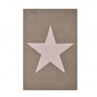 Teppich beige/leinen aus 100% Wolle mit Stern in weiß 140x200cm