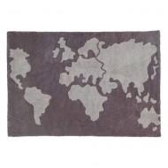 Lorena Canals waschbarer Teppich Worldmap grau 140x200cm