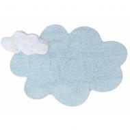 Lorena Canals waschbarer 2in1 Teppich DREAM BLUE Wolke mit Kissen in hellblau 110x170cm
