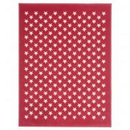 Teppich Acryl rot mit weißen Sternen in 120x160cm