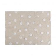 Lorena Canals waschbarer Teppich in beige mit weißen Punkten 120x160cm