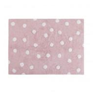 Lorena Canals waschbarer Teppich in pink mit weißen Punkten 120x160cm