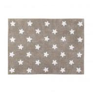Lorena Canals waschbarer Teppich in leinen mit weißen Sternen 120x160cm
