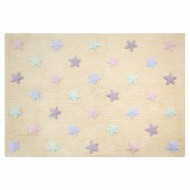 Lorena Canals waschbarer Teppich Stars vanilla-rosa-mint 120x160cm