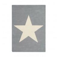 Lorena Canals Teppich grau aus 100% Wolle mit großem Stern 140x200cm