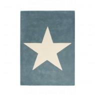 Lorena Canals Teppich vintage blau aus 100% Wolle mit großem Stern 140x200cm
