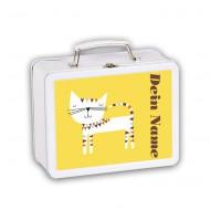 Lusciamar Metallköfferchen Katze in gelb - mit Wunschname