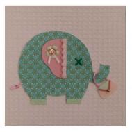 Moepa Stoffbild rosa mit Elefant in türkis 20cm
